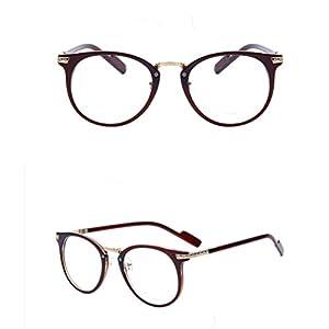 2015 Women Retro Eyeglasses Fashion Round Metal Arm Eyeglasses Frame Optical Computer Eye Glasses Frame (Brown)