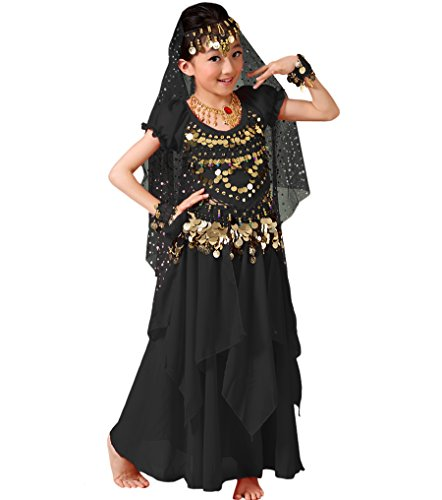 Astage Girls Princess Costume Halloween Dance Sets, Style A-black, Large (For height 57-62in) ()