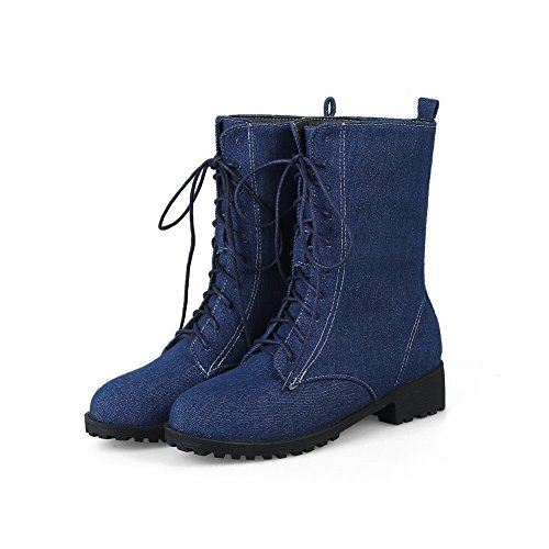 Balamasa Womens Fashion Antislip Solide Stof Laarzen Abl10075 Donkerblauw