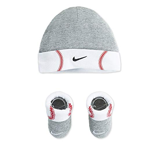 NIKE Children's Apparel Baby Hat and Bootie Two Piece Set, Grey Baseball Cuff, 0/6M