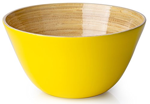 (Casa Bellante Bamboo Bowl For Dining ((Soup, Cereal, Salad), Traditional Shape, Yellow, 1-Piece,)