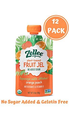Orange Jello Halloween (Zellee Certified Organic Fruit Jel Pouches   Orange Peach   12 pack   Non-GMO, Gluten-Free, Vegan, Plant-Based, No Added Sugar, Antioxidant Rich   Healthy Snack for Adults & Kids  )