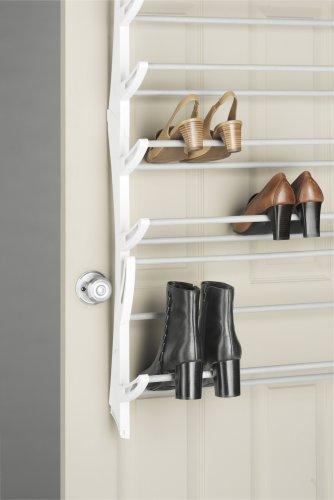 Whitmor 6486-1746-WHT Over-The-Door Shoe Rack, White, 36-Pair
