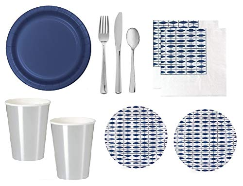 Navy Blue Party Supplies Birthday Bridal Wedding Shower With Shiny Silver Cups & Premium Quality Shiny Silver Plastic Cutlery for 12-16 Guests - Elegant Style ()