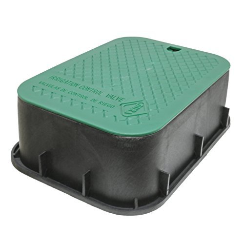 DURA 15 in. x 21 in. x 6 in. Deep Extension Valve Box in Black Body Green Lid - Irrigation Valve Box