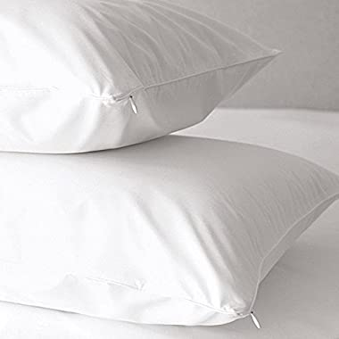 2-Pack Premium Allergy Pillow Protectors. Hypoallergenic Dust Mite & Bed Bug Resistant Anti-Microbial 500 Thread Count 100% Cotton Zippered Pillow Covers. By Home Fashion Designs Brand. (Queen)