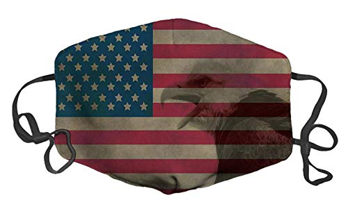 Vintage Flag with Bald Eagle Custom Mouth Mask Anti-Dust Face Mask Adjustable Buckle Face Mask