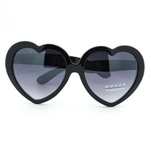 FBrand Fashion Large Women Lady Girl Oversized Heart Shaped Retro Sunglasses Cute Love Eyewear (black)
