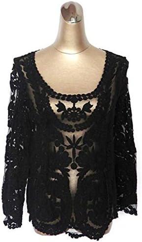 hbj puntas de Nueva puntas Blusa Camisa Manga Larga Blusas gancho flor durchbohrten puntas Blusa negro negro Talla:XL: Amazon.es: Deportes y aire libre