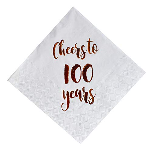 Cheers to 100 Years Cocktail Napkins, 50-Pack 3ply White Rose Gold 100th Birthday Dinner Celebration Party Decoration Napkin]()