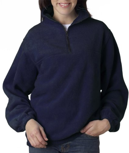 UltraClub Adult Iceberg Fleece 1/4-Zip Pullover. 8480 - Small - Navy