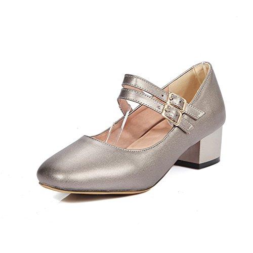 Allhqfashion Donna Tacco Basso Fibbia Tinta Unita Scarpe A Punta Chiusa-scarpe Argento
