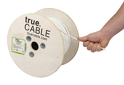 (Cat6 Plenum (CMP), 500ft, White, 23AWG 4 Pair Solid Bare Copper, 550MHz, ETL Listed, Unshielded Twisted Pair (UTP), Bulk Ethernet Cable, trueCABLE)