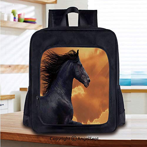(School Backpack,Portrait of Galloping Frisian Horse with Warm Hot Sun Rays Intensity Honor Grace Theme School Bags Student Stylish Book Bag Daypack for Little Boys and Girls,Black Orange )