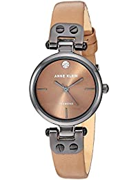Women's Genuine Diamond Dial Gunmetal and Mocha Brown Leather Strap Watch, AK/3513GYMO