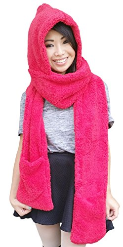 AM Landen Thick and Soft Winter Warm Hoodie Gloves Pocket Hat Scarf Snood 3-in-1(RED)