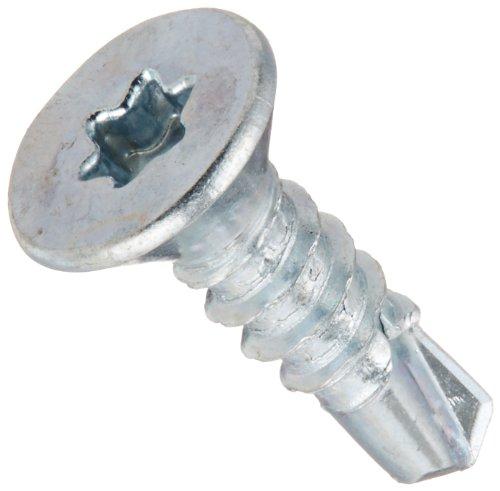 Steel Self-Drilling Screw, Zinc Plated Finish, 82 Degree Flat Head, Star Drive, #2 Drill Point, #6-20 Thread Size, 1/2