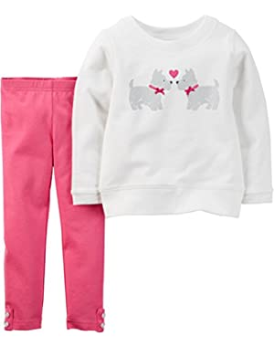 Baby Girls' 2-Piece Pullover & Legging Set (6 Months, Ivory/Pink)