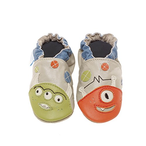 Jack & Lily Originals Monster Taupe - Zapatillas de piel super divertidas y coloreadas, multicolor