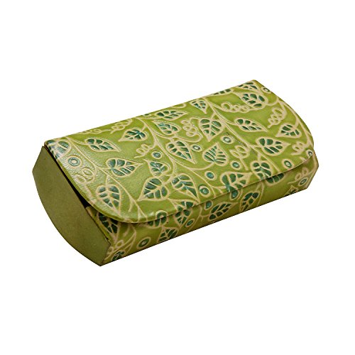 (Embossed Leather Eyeglass Case 'Leather Glasses Case (Green Leaves)')