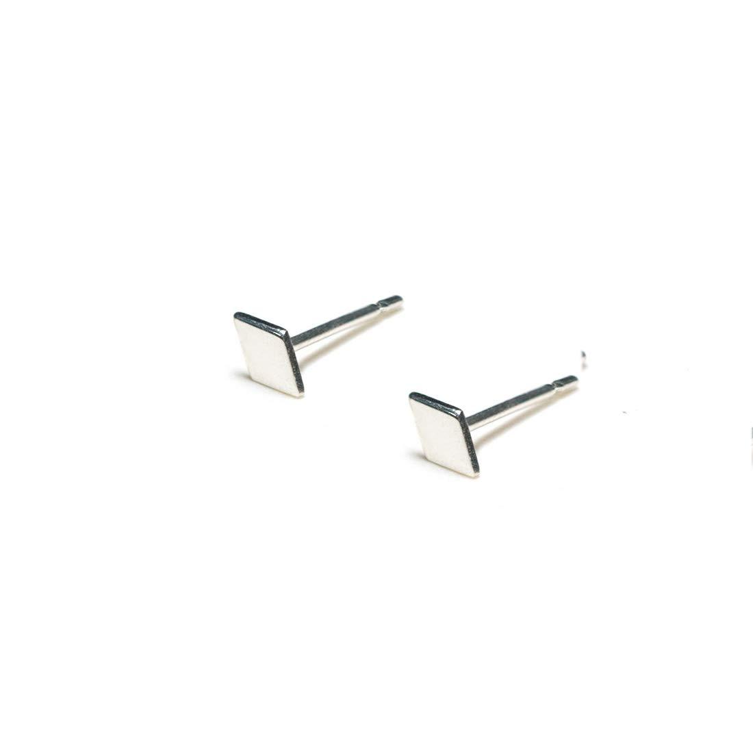 925 Sterling Silver Diamond+Diamond Earrings Tiny Stud Earrings Minimalist Earrings