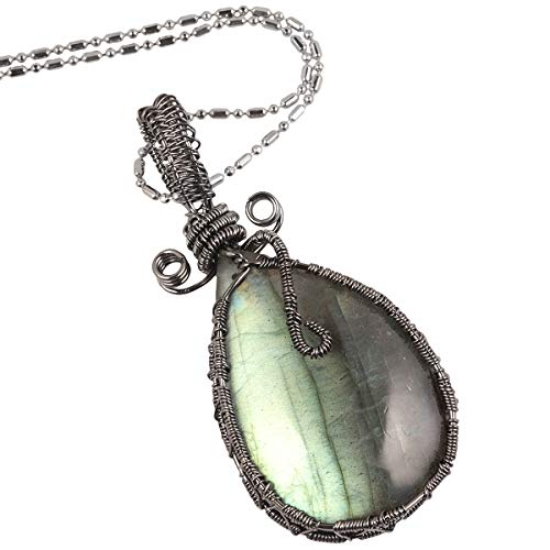 TUMBEELLUWA Labradorite Necklace Irregular Shape Wire Wrapped Quartz Crystal Pendant with Chain Healing Stone Jewelry,Style 3