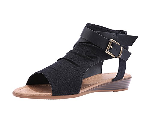 Fashare Womens Gladiator Wedge Flat Sandals Buckle Ankle Strap Summer Beach Shoes