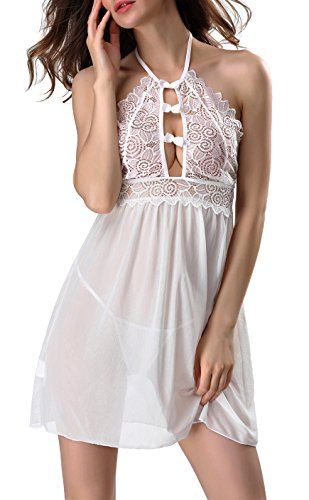 Womens Halter Silk Hollow Lace Sexy V-String Lingerie Babydoll Sleepwear Dress Lace White S (US Size (Slutty Maid Outfit)