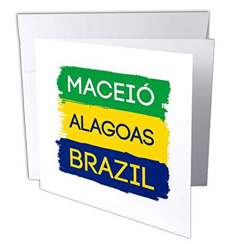 3dRose Alexis Design - Brazilian Cities - Maceio, Alagoas National Colors Patriot Brazil Home Town Design - 6 Greeting Cards with envelopes (gc_311939_1)
