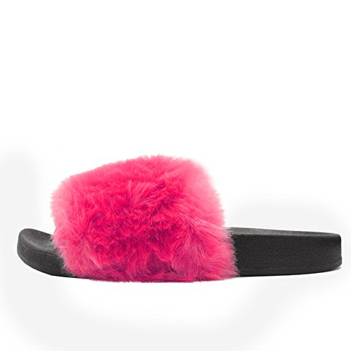 LAVRA Womens Faux Fur Slide Slip Sandals Pink (Without Shoe Box) gHkceSF