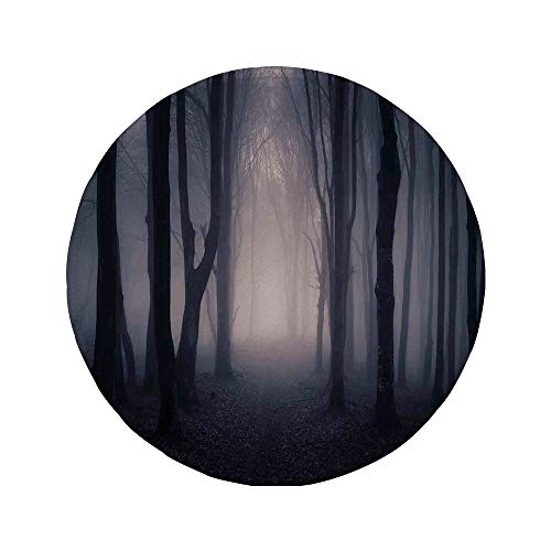 Non-Slip Rubber Round Mouse Pad,Farm House Decor,Path Through Dark Deep in Forest with Fog Halloween Creepy Twisted Branches Picture,Pink -
