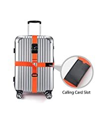 MODAR Long Cross Luggage Strap with 3 Dial TSA Combination Lock Adjustable Belt for Travel Suitcase (Cross-Orange)