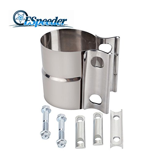 """ESPEEDER 2.25"""" Stainless Steel Lap Joint Exhaust Band Clamp with 1 Block"""