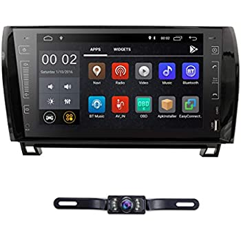in Dash Android 8.1 Double Din 9 Inch Capacitive Touch Screen Car Stereo Video Receiver Player GPS Navigation with Bluetooth for Toyota Tundra Sequoia ...