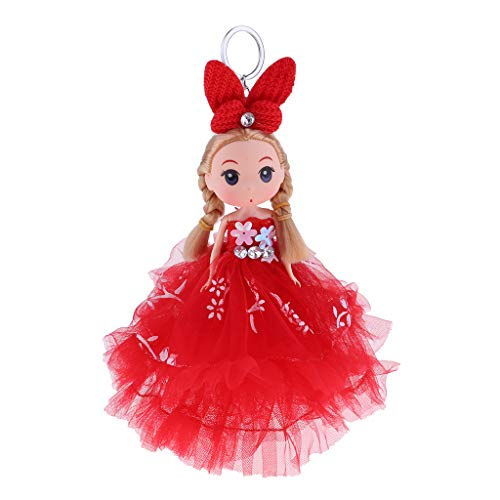 Prettyia 18cm Vinyl Princess Doll Keychain Modern Doll in Gown Dress Bag Pendant Collectibles Cake Toppers
