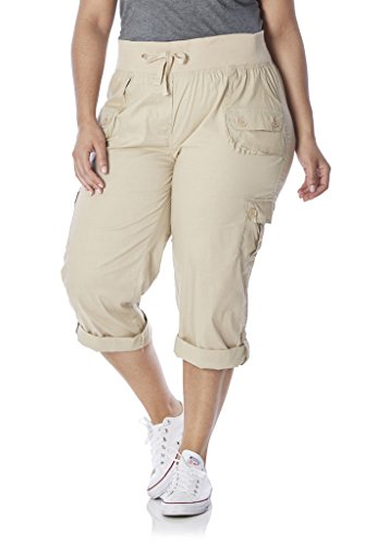 [28205XRA-KHAKI-2X] Rouge Collection Women Capri Pants, Junior Plus Size, Adjustable Length, Elastic Waist