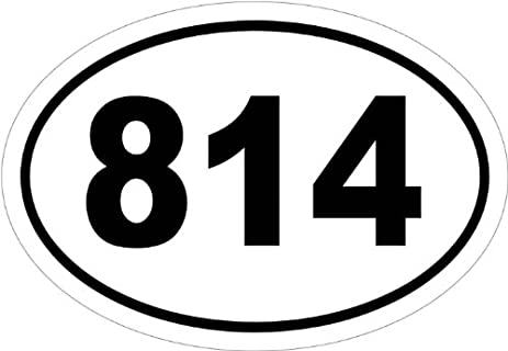 Amazoncom Area Code In An Oval Vinyl Car Decal Black - 814 area code