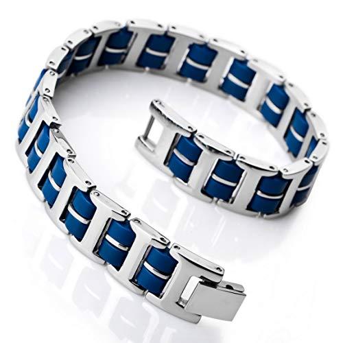 INBLUE Men's Stainless Steel Rubber Bracelet Link Wrist Silver Tone Blue Rectangular -
