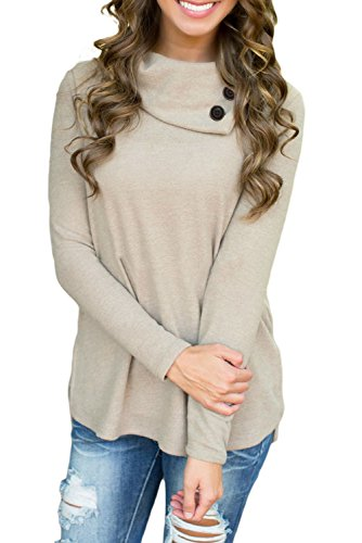 Alvaq Womens Sleeve Buttons Sweatshirts