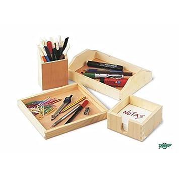 Faibo Cajas y bandejas de madera (24 x 17 x 5,5 cm.): Amazon.es: Oficina y papelería