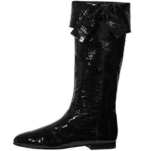 Themost Mid Calf Boots for Women Slouch Knee High Boot Western Combat Cowgirl Booties with Pull-Up Tabs Black