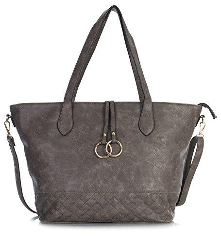 Handbag donna a 5 Shop Big Deep Borse Taupe spalla Design AZdXq6xq