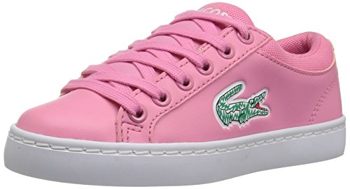 Lace Sneakers Lacoste (Lacoste Kids' Straightset Lace Sneakers,Pink/White synthetic,2.5 M US Little Kid)