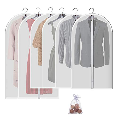 Allhom Hanging garment bag for storage - Travel Suit bag Sturdy zipper Moth proof Clothing bag pack of 6 with Moth cedar ball in 4 Medium and 2 ()