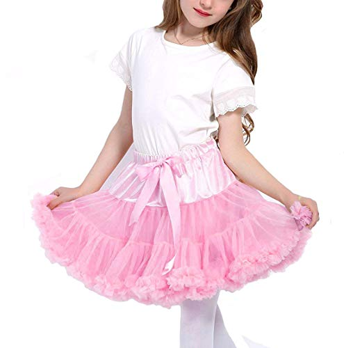 KoKoHouse Girl's Tutu Skirts Multi-Layer Petticoat Underskirt Colored Crinoline (S, Pink)