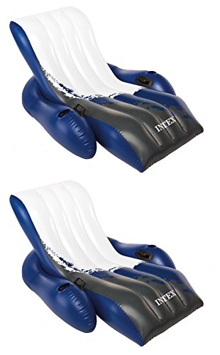 - Intex Inflatable Floating Comfortable Recliner Lounges with Cup Holders (2 Pack)