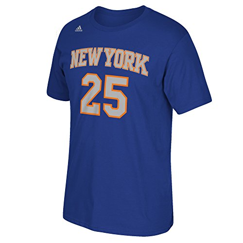 (NBA New York Knicks Derrick Rose #25 Men's Game Time Short Sleeve Go-To Tee, Large, Blue)