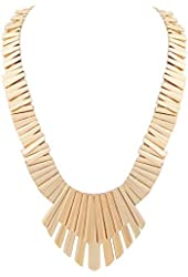 Belle Noel Gold Color Plated Bars and Fan Necklace