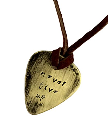 Guitar Pick Necklace - Never Give up - Hand Stamped Necklace Leather - BFF Gift ()