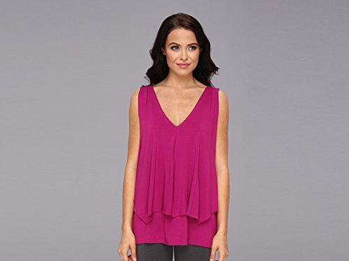 Lysse Women's Rayon Tiered Tunic Rouge Tank Top LG